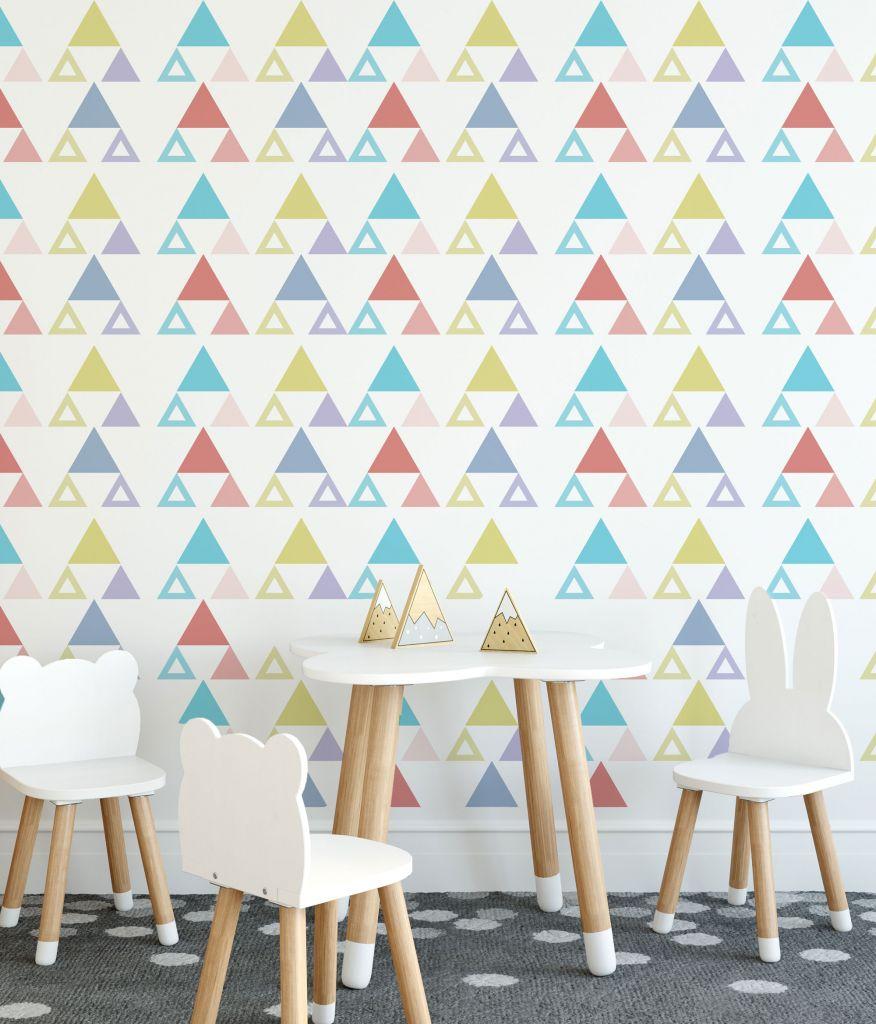 מדבקות קיר משולשים לחדרי ילדים