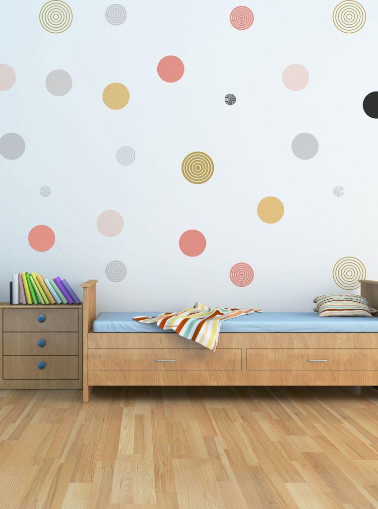 מדבקות קיר עיגולים לחדרי ילדים