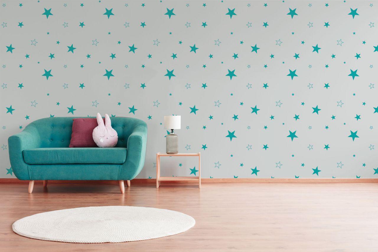 טפט כוכבים שונים בצבע טורקיז