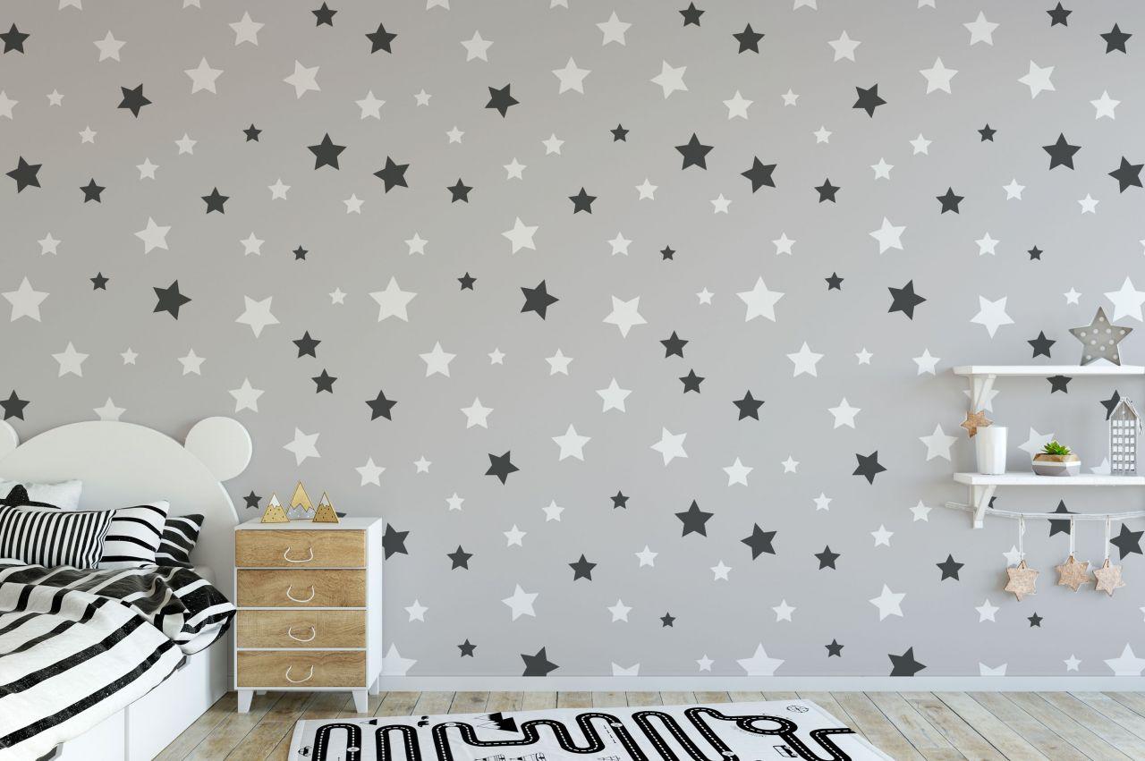 טפט כוכבים שחור לבן על רקע אפור