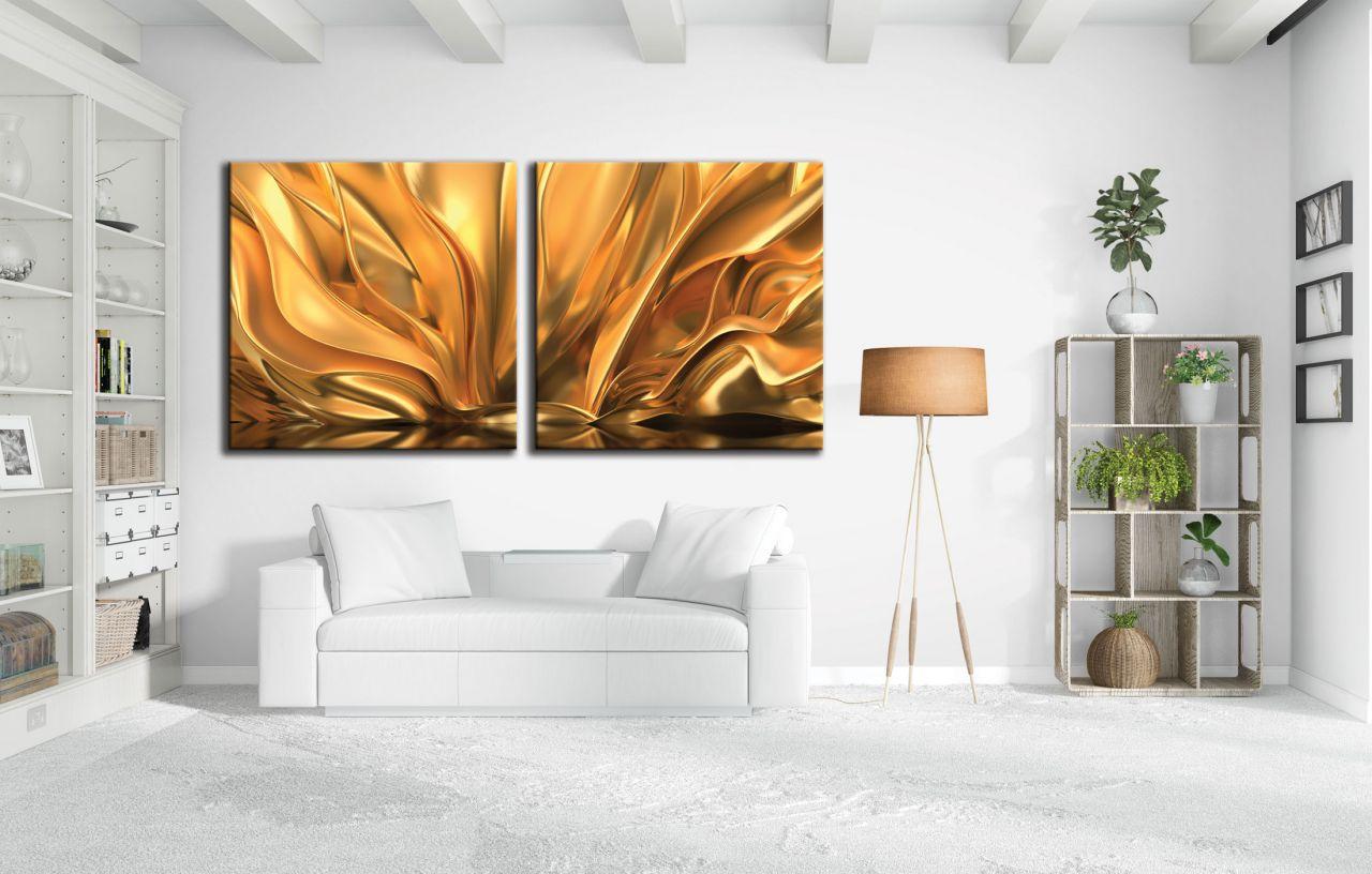 זוג תמונות קנבס אבסטרקטי רקע זהב