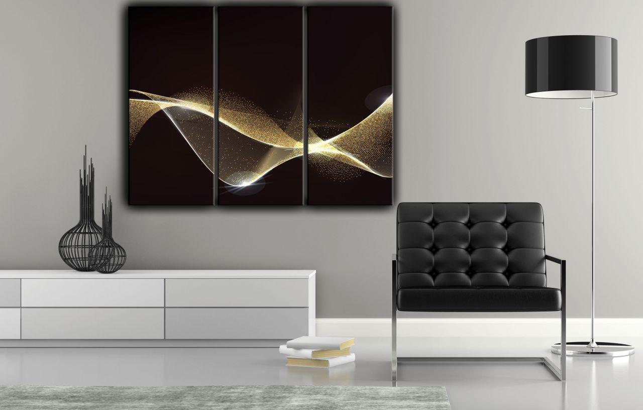 תמונת קנבס מופשט גלי זהב