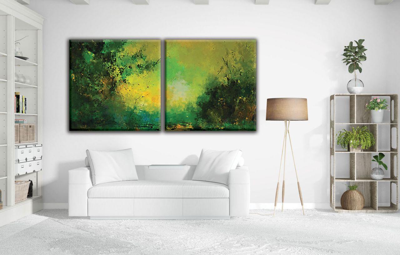 זוג תמונות קנבס אבסטרקטי ציור גווני ירוק