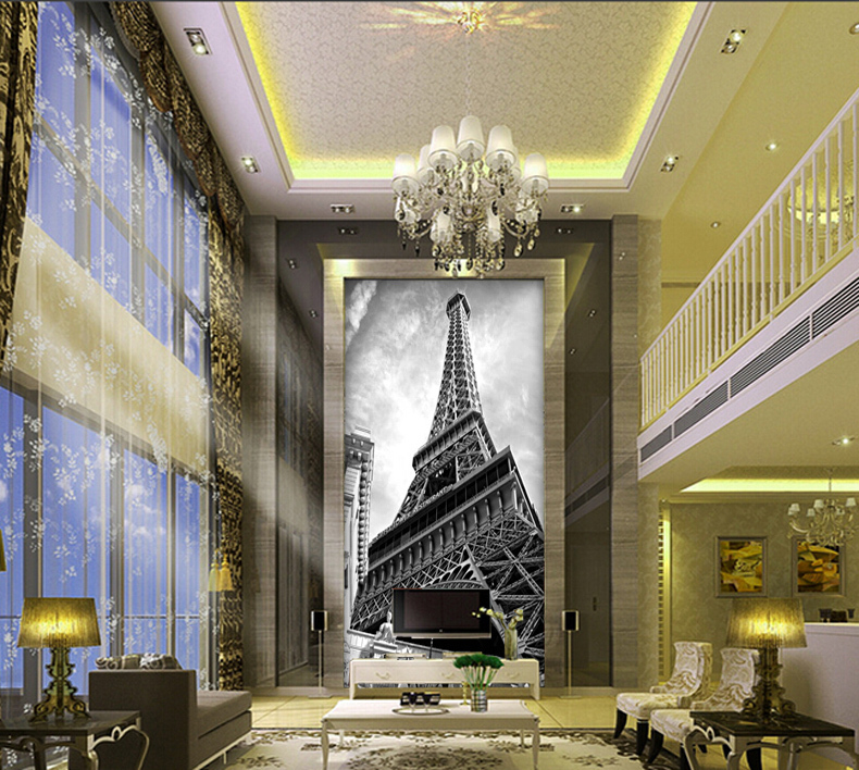 תמונת טפט מגדל אייפל בשחור לבן תלת מימד
