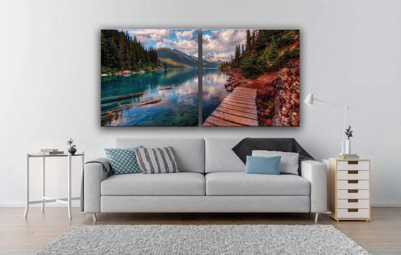 זוג תמונות קנבס אגם ועצים