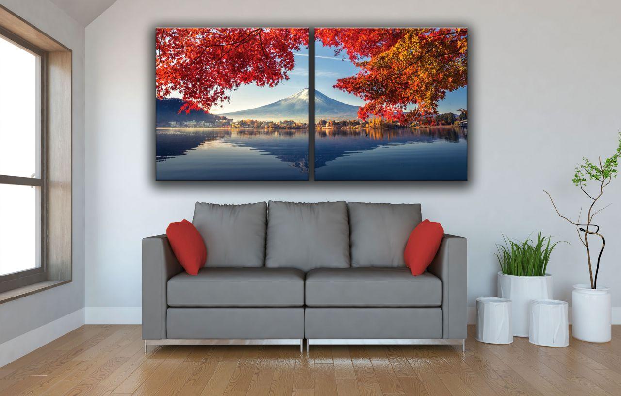 זוג תמונות קנבס הר פוג'י עם עלים אדומים
