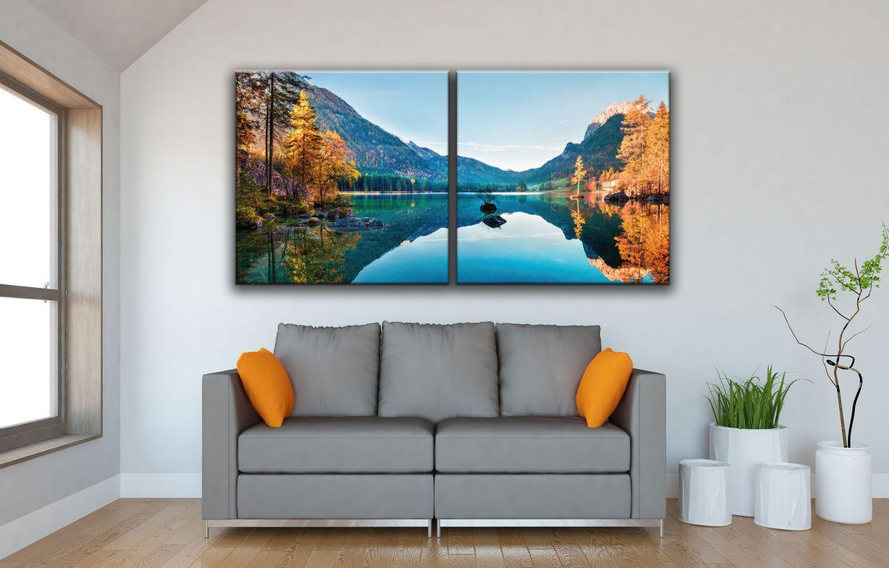 זוג תמונות קנבס סתיו פנורמה על אגם Hintersee