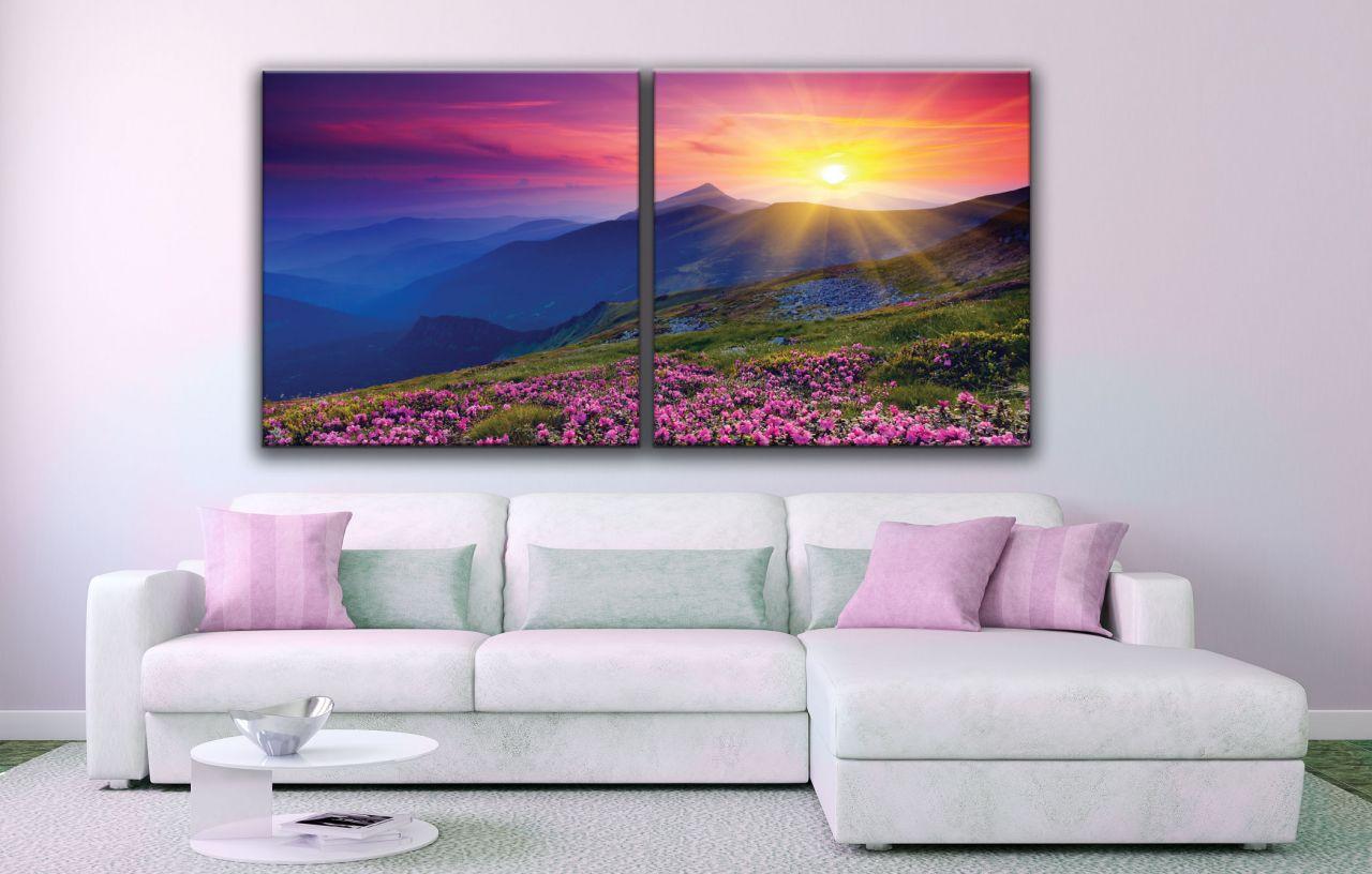 זוג תמונות קנבס הר עם פרחים ורודים