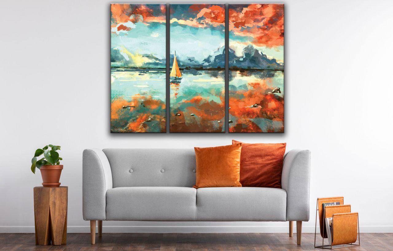 תמונת קנבס ציור סירה ושקיעה