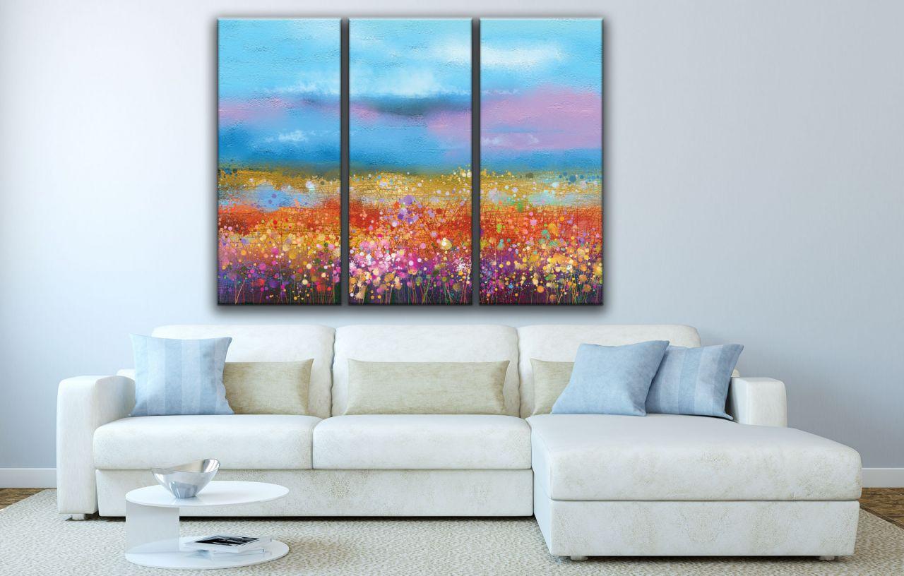 תמונת קנבס ציור שדה עם פרחים סגולים