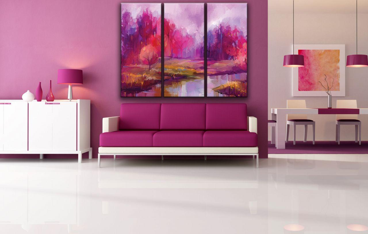 תמונת קנבס ציור עצים אדומים ואגם