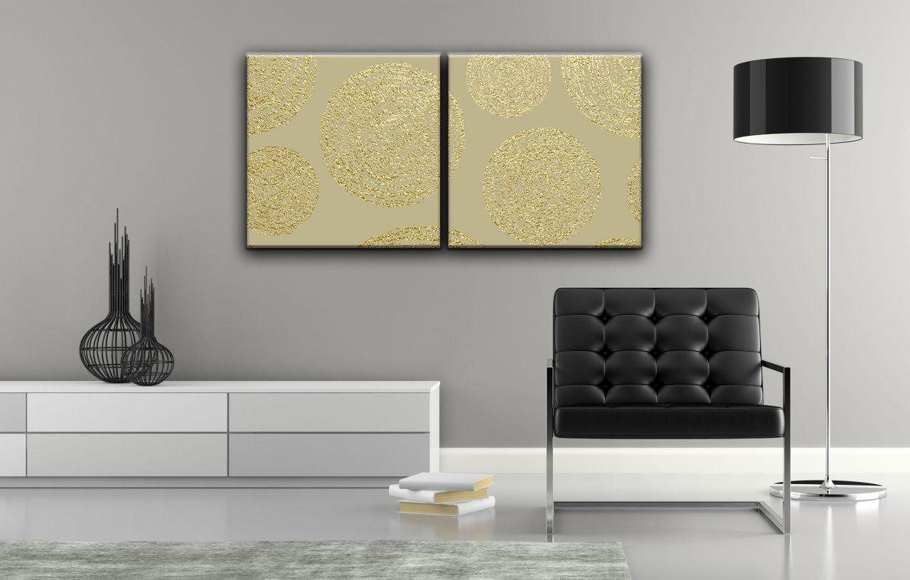 זוג תמונות קנבס צורות עגולות עם נצנצים זהב