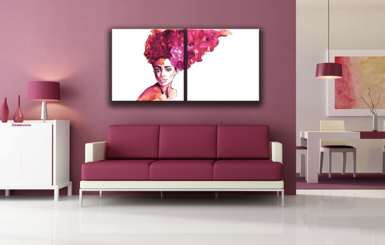 זוג תמונות קנבס אישה אפריקאית צבעי מים