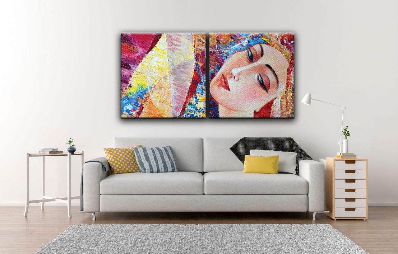 זוג תמונות קנבס ציור אומנותי אישה