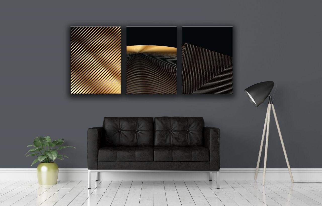תמונת קנבס קו גיאומטרי מופשט זהב