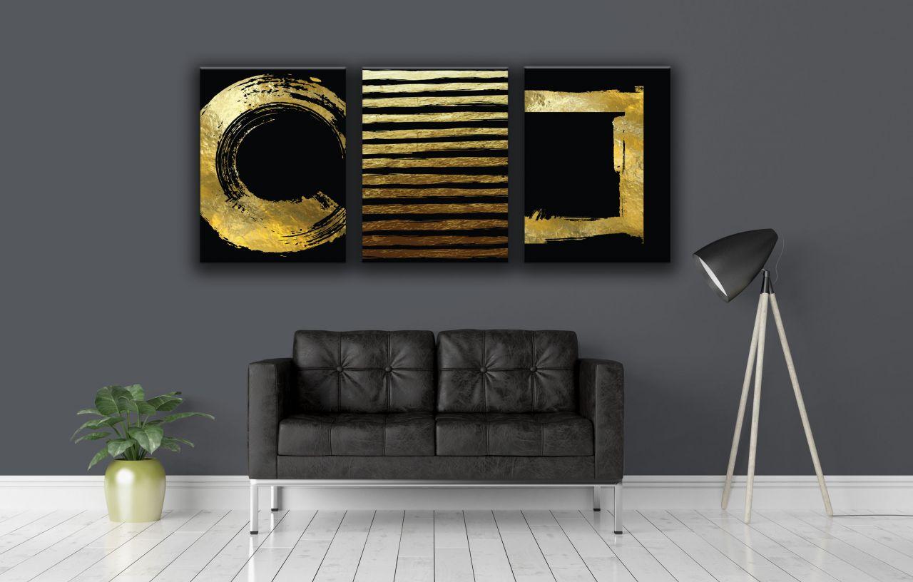 תמונת קנבס צורות גיאומטריות מופשט זהב