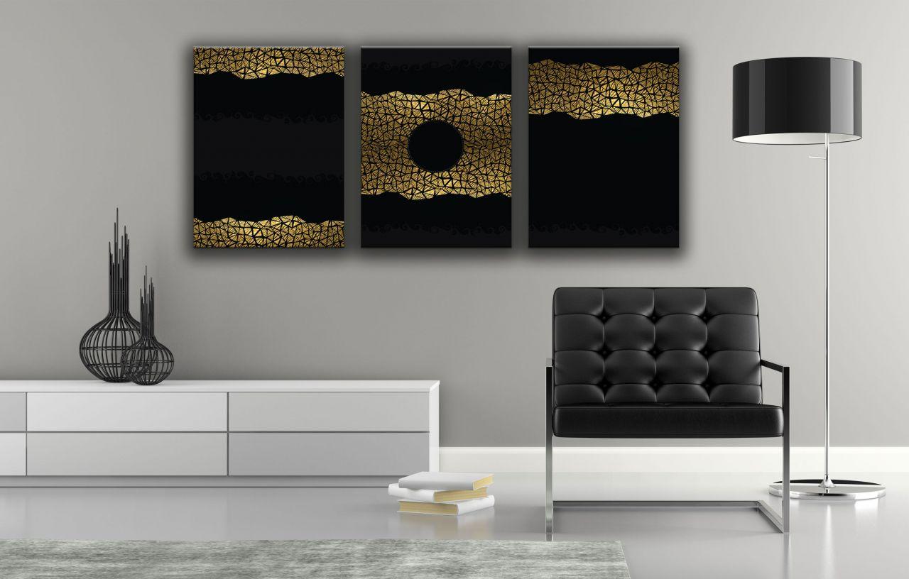 תמונת קנבס טקסטורה זהב על רקע שחור
