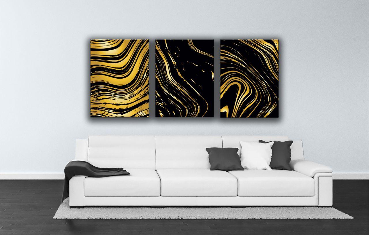 תמונת קנבס גלים מופשטים זהב