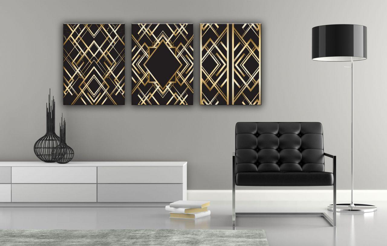 תמונת קנבס עיצוב וינטג׳ צבע זהב