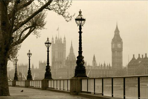 תמונת טפט לונדון שחור לבן תלת מימד