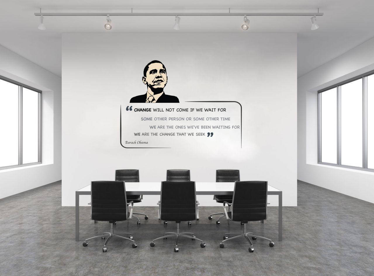 """מדבקת קיר משפט השראה  ״Change will not come"""" באנגלית / עברית לבחירה"""