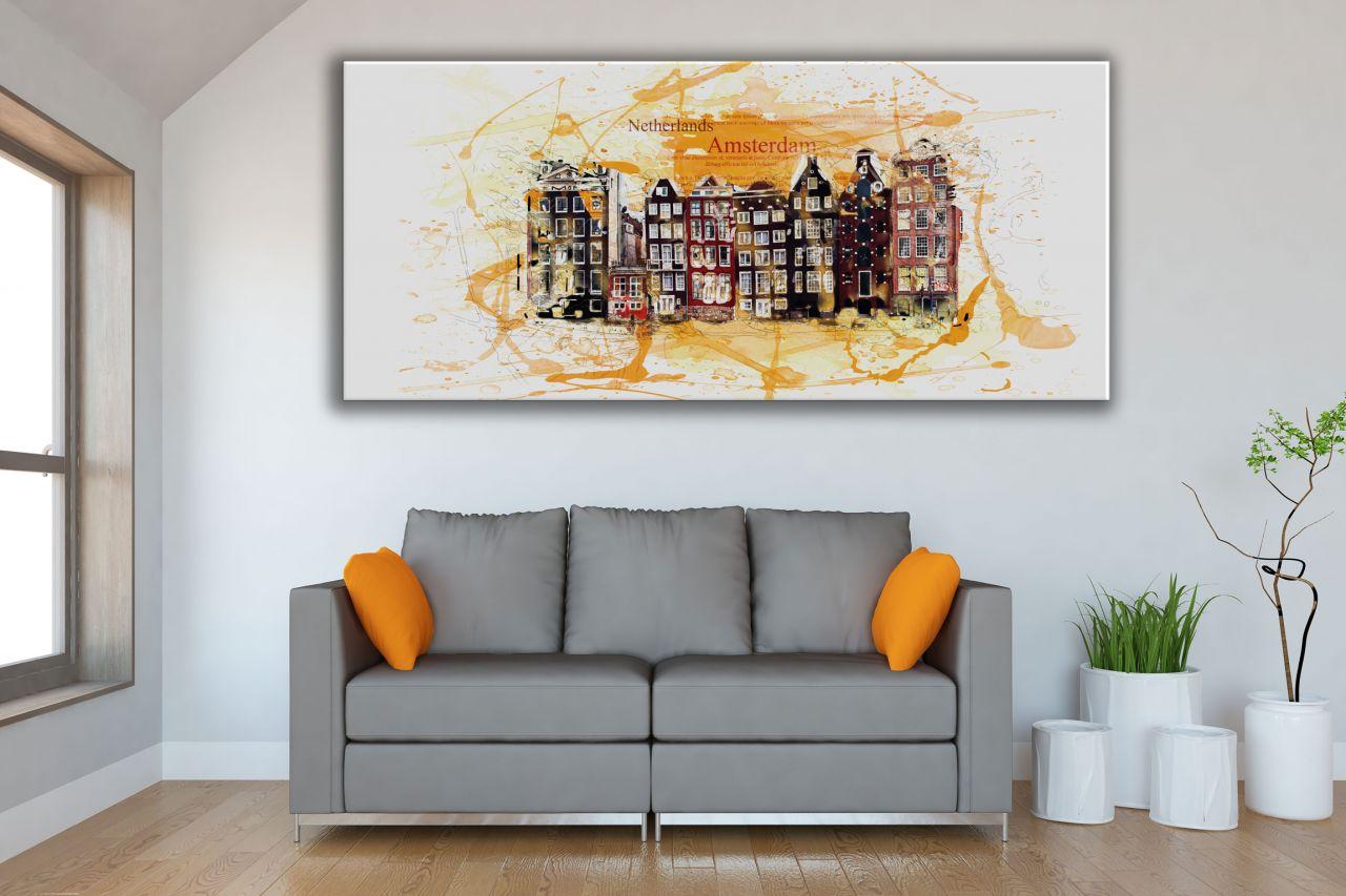 תמונת קנבס  עיר אמסטרדם צבעי מים