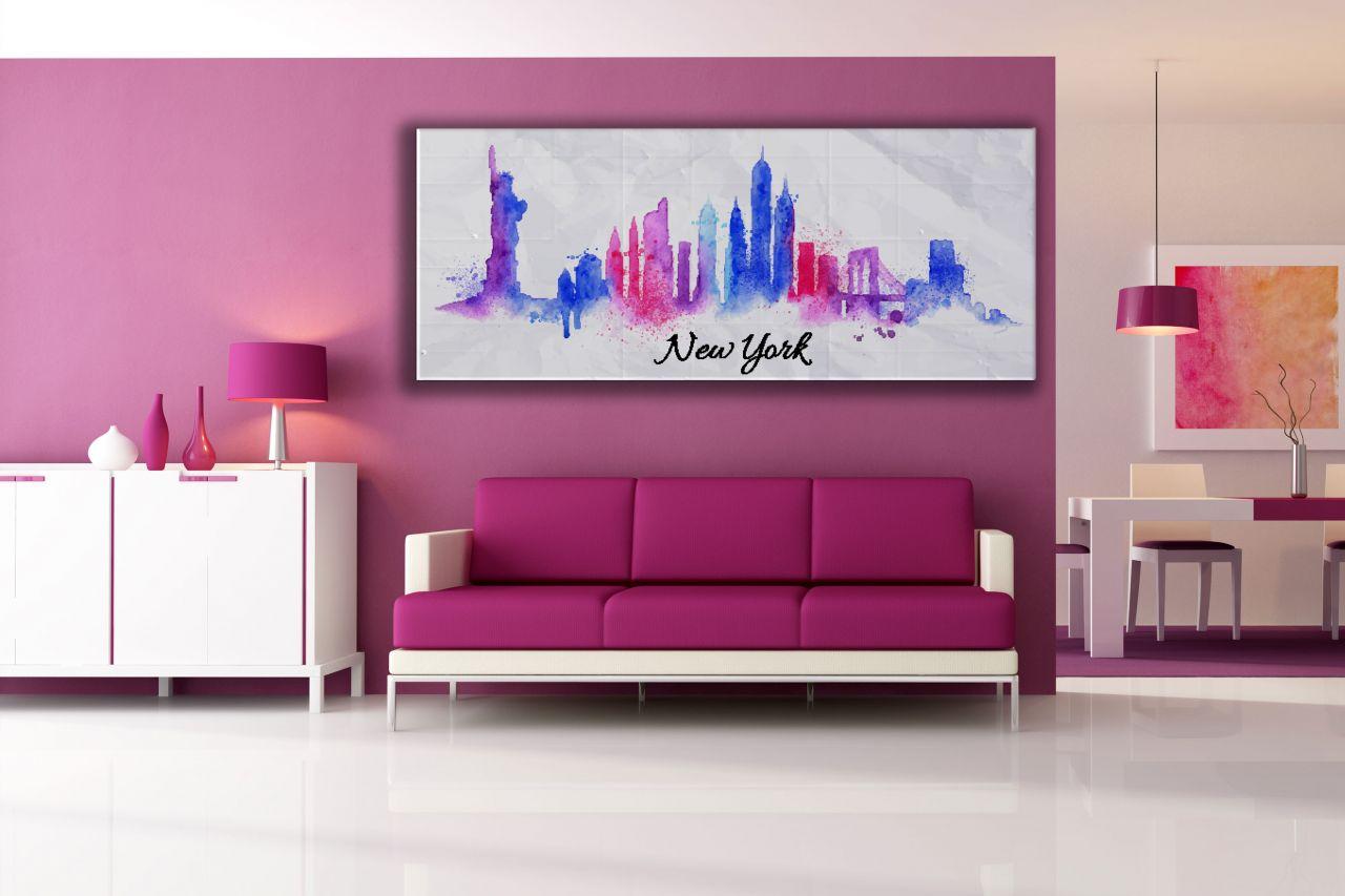 תמונת קנבס צבעוני עיר ניו יורק צבעי מים