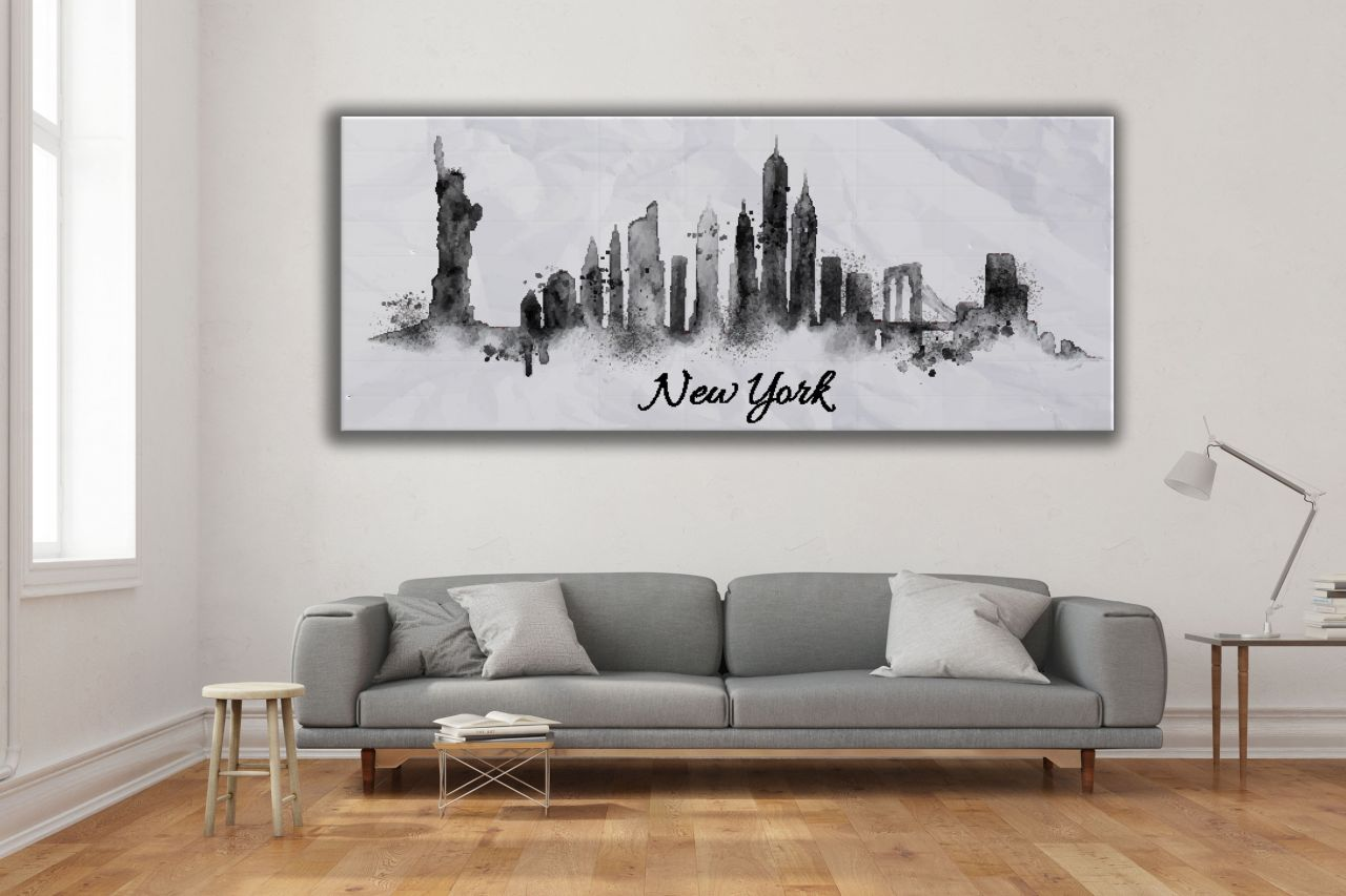 תמונת קנבס שחור לבן עיר ניו יורק צבעי מים