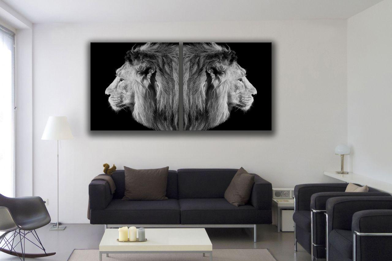 זוג תמונות קנבס שחור לבן של אריות