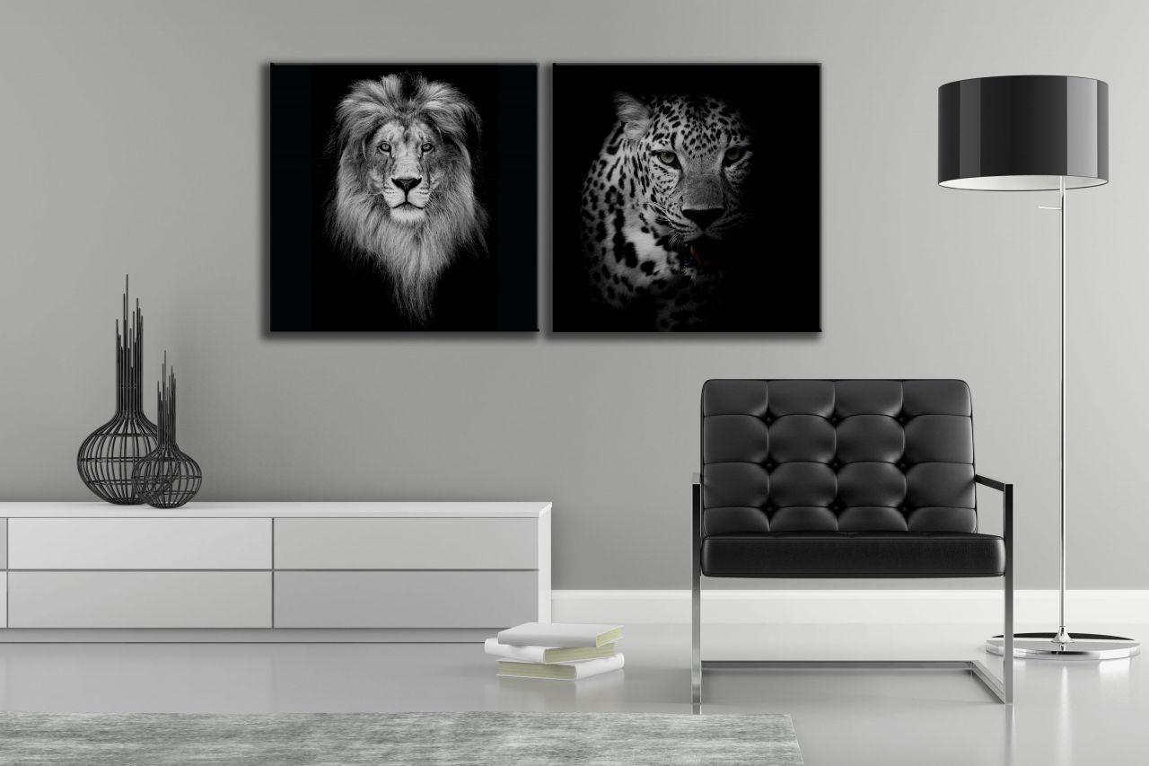זוג תמונות קנבס שחור לבן של אריה ונמר