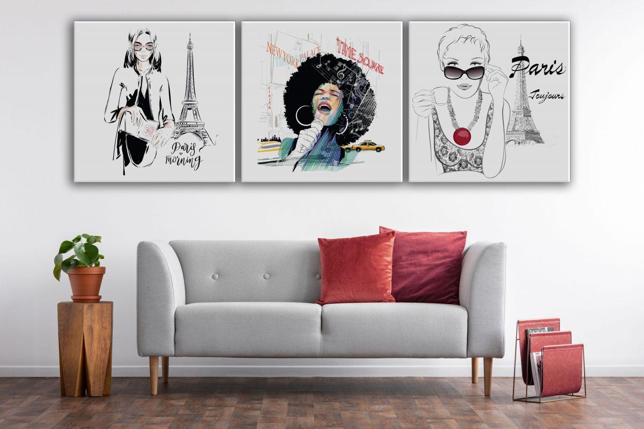 שלישיית תמונות קנבס New York&Paris Style