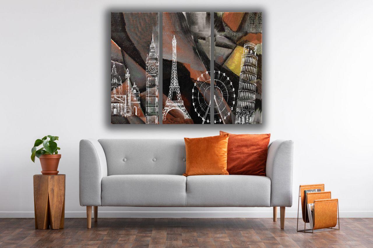 תמונת קנבס ציור שמן איור לונדון פריס ופיזה