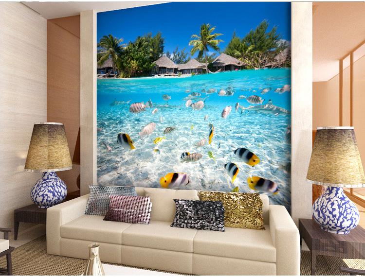 תמונת טפט דגים באי טרופי תלת מימד