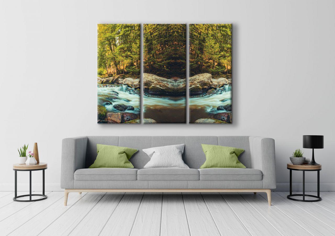 תמונת קנבס של נהר בתוך יער 3 חלקים