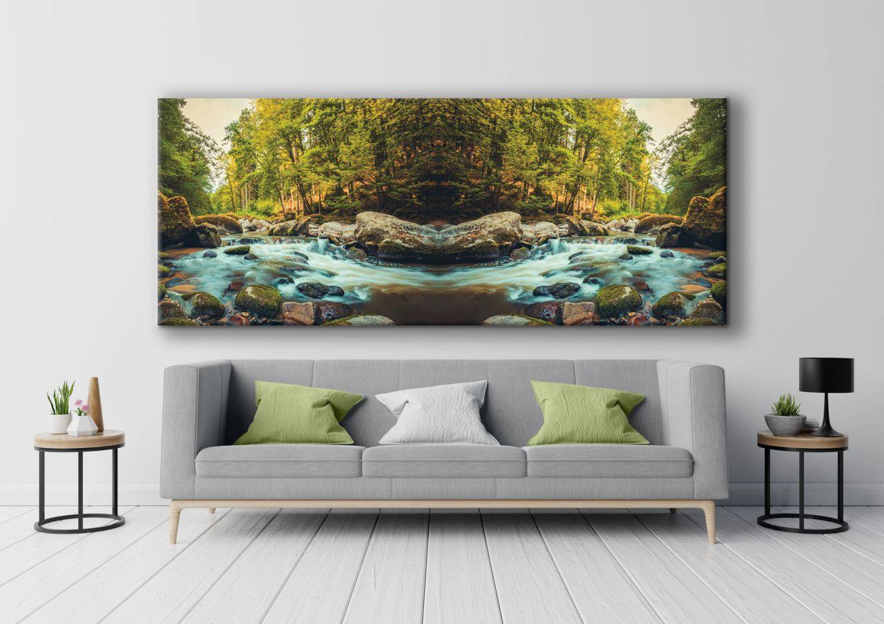 תמונת קנבס של נהר לתוך היער