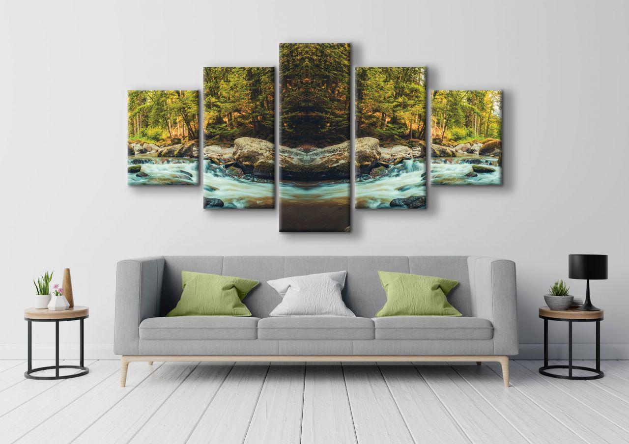 תמונת קנבס נהר ביער 5 חלקים