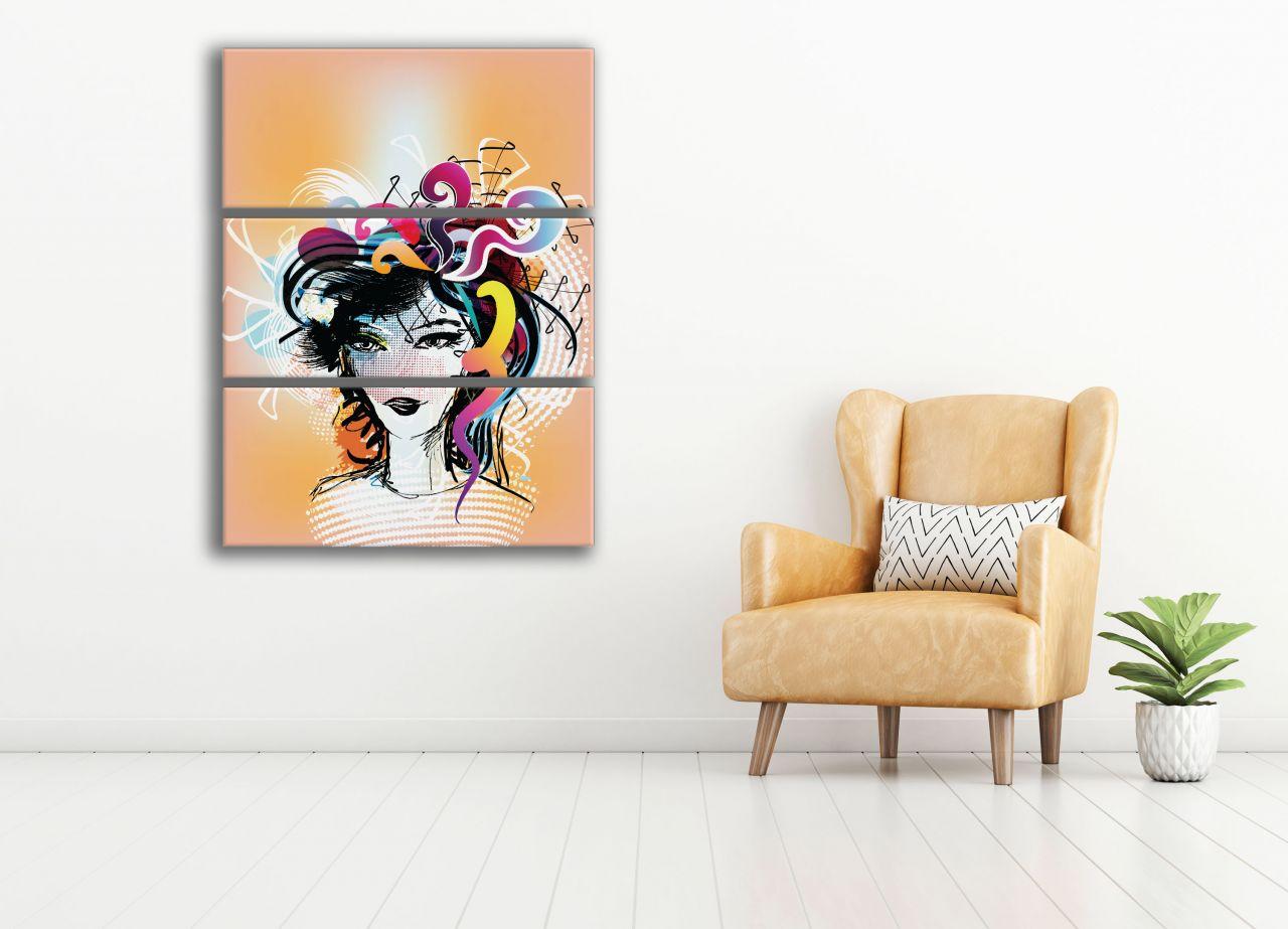 תמונת קנבס איור של אישה צבעי פופ ארט