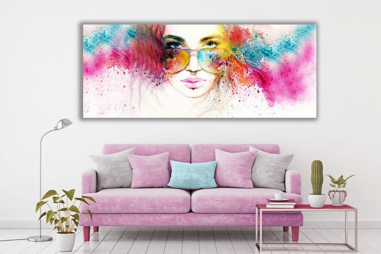 תמונת קנבס פופ ארט איור של אישה צבעי מים