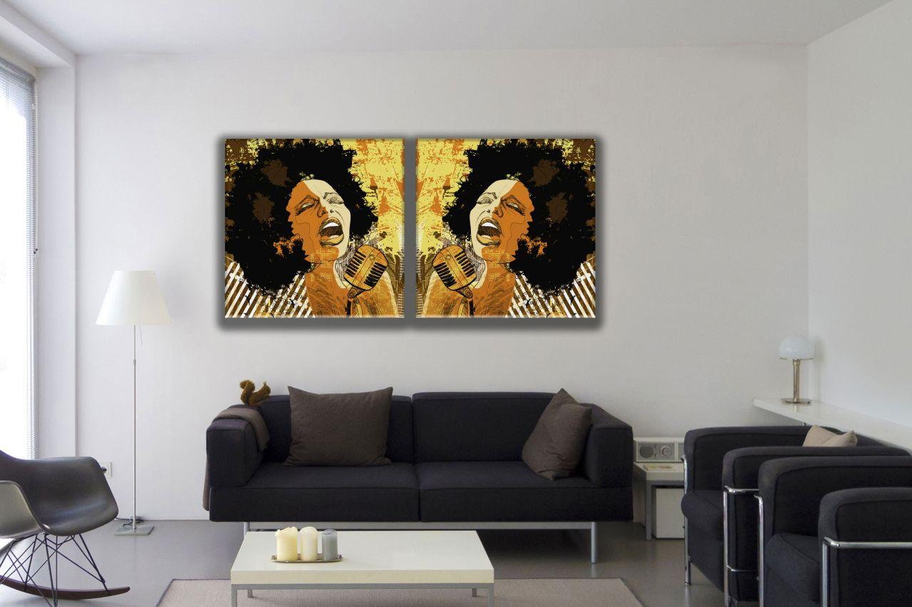 זוג תמונות קנבס פופ ארט זמרת אפרו אמריקאית