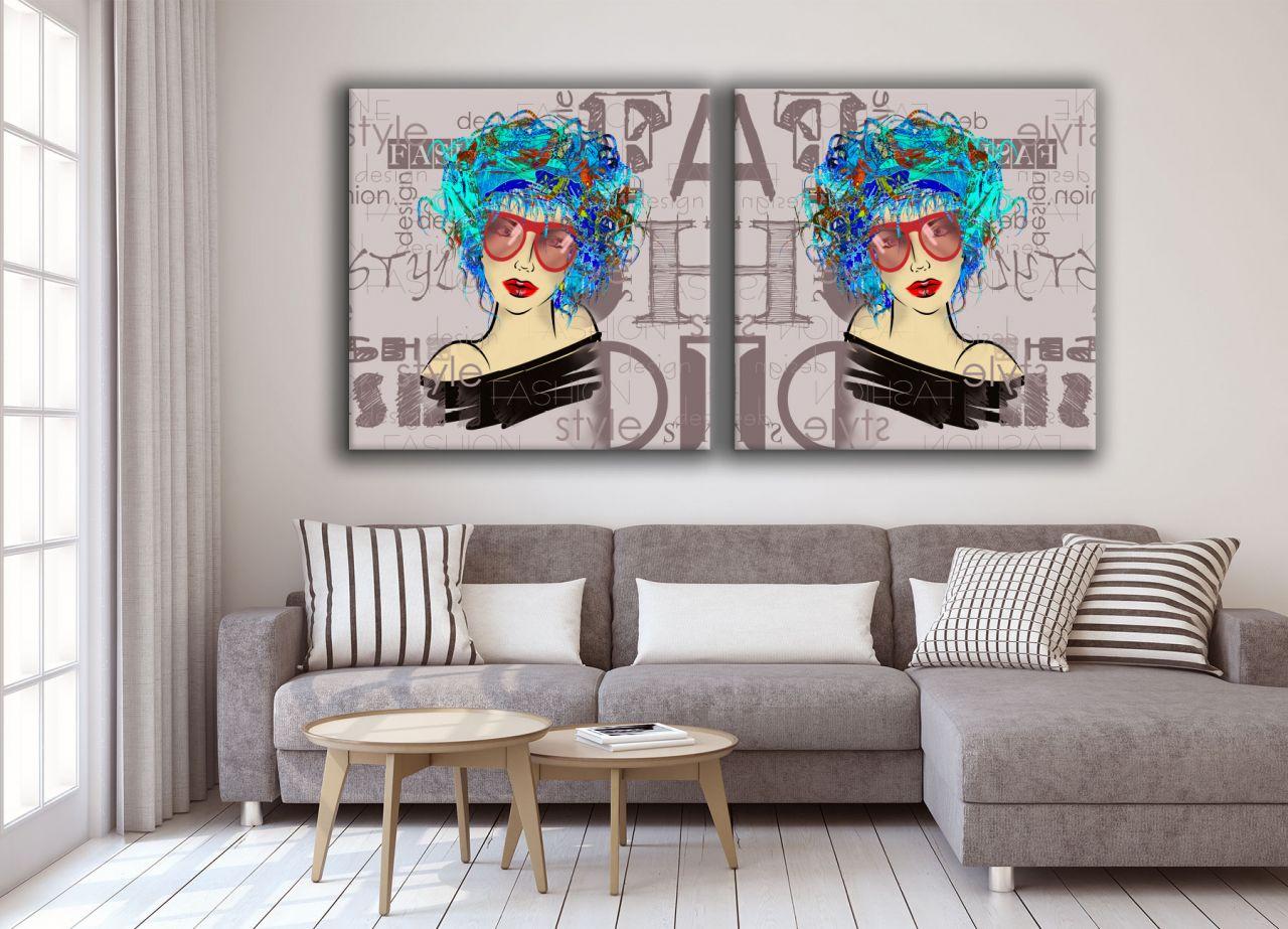זוג תמונת קנבס פופ ארט איור דוגמנית על רקע מעוצב