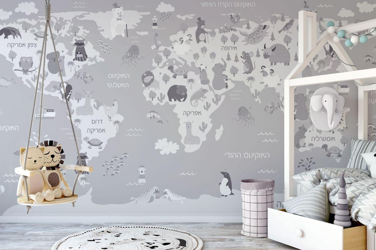 טפט מפת עולם לילדים דגם GREY