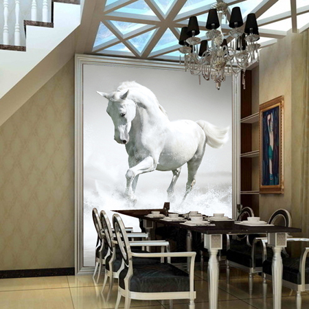 תמונת טפט סוס לבן תלת מימד