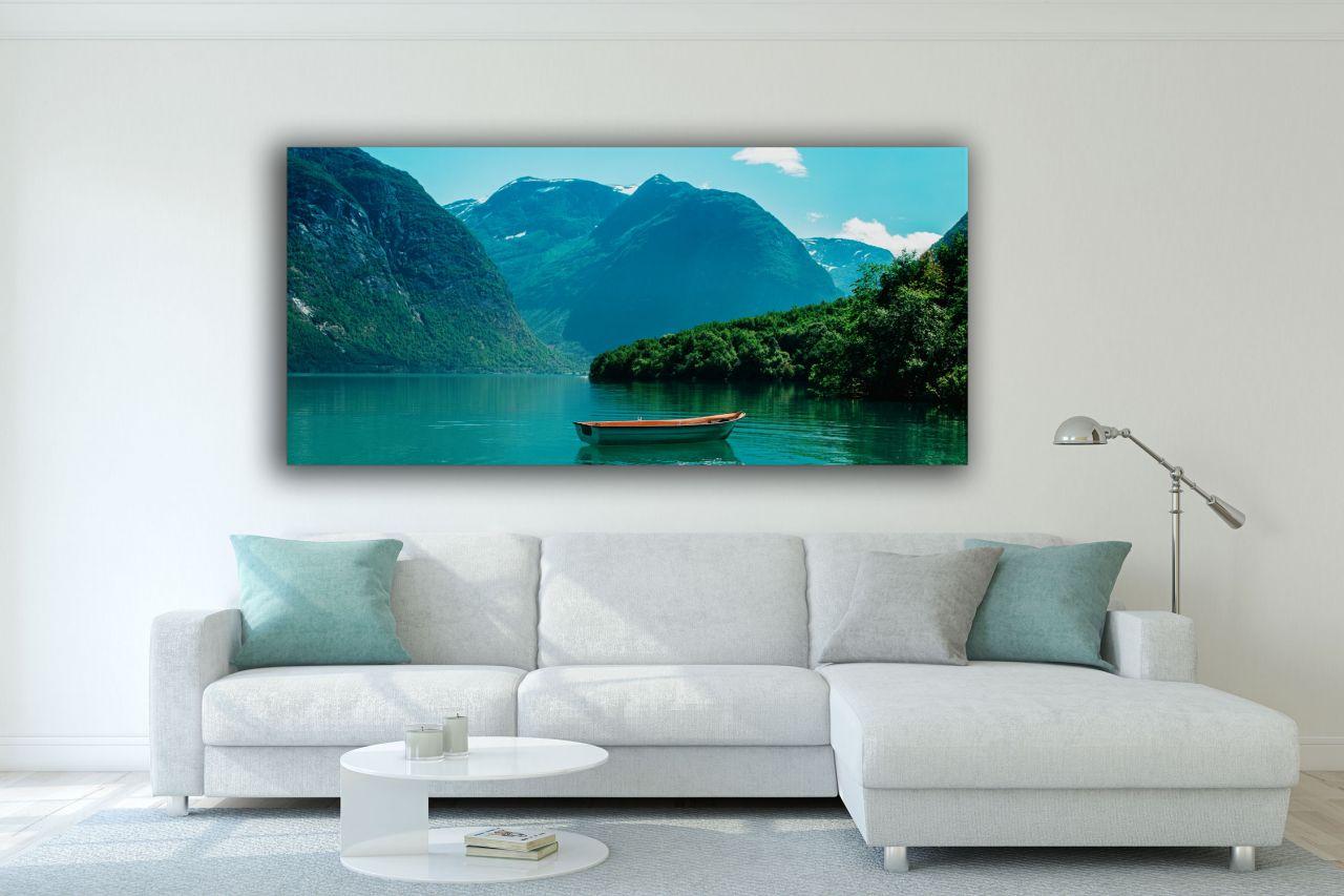 תמונת קנבס נוף אגם אל ההרים במגוון חלוקות