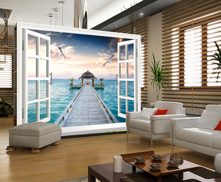 תמונת טפט חלון נוף לים תלת מימד