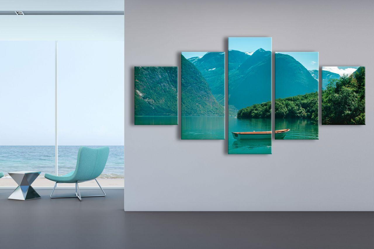 תמונת קנבס אגם אל ההרים 5 חלקים