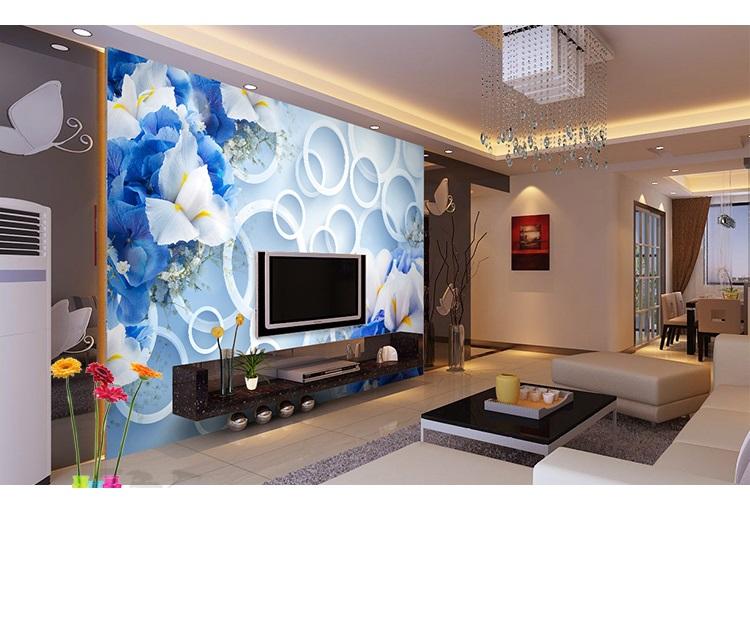 תמונת טפט פרחים כחולים תלת מימד