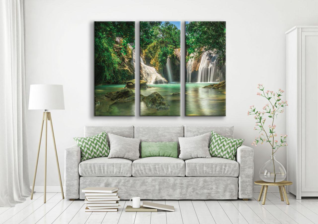 תמונת קנבס Waterfall and green ב3 חלקים