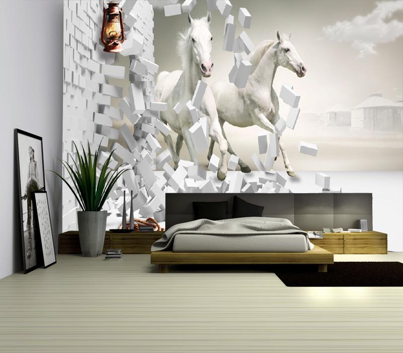תמונת טפט סוסים לבנים תלת מימד