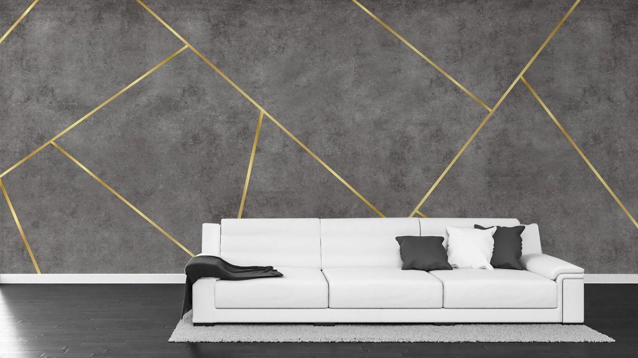 טפט גאומטרי בטון משופשף אפור כהה  וקווי זהב