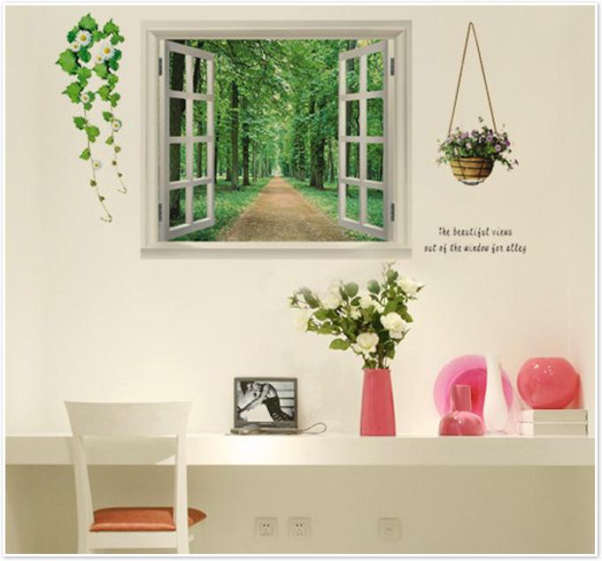 מדבקת קיר חלון תלת מימד ליער